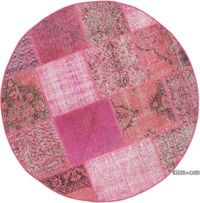 "Round Over-dyed Turkish Patchwork Rug - 4' 10"" x 4' 10"" (58 in. x 58 in.)"