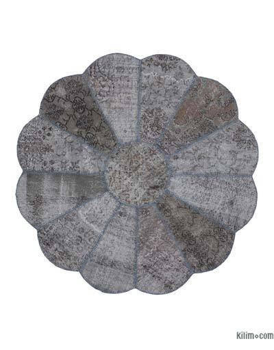 "Round Over-dyed Turkish Patchwork Rug - 5'5"" x 5'5"" (65 in. x 65 in.)"