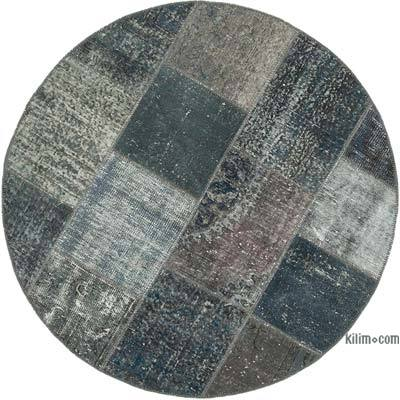 """Round Over-dyed Turkish Patchwork Rug - 5' 1"""" x 5' 1"""" (61 in. x 61 in.)"""