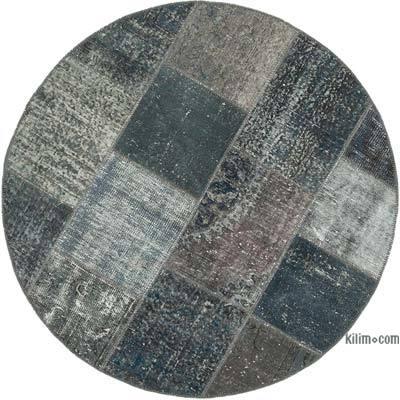 Gri Yuvarlak Boyalı Patchwork Halı - 154 cm x 154 cm