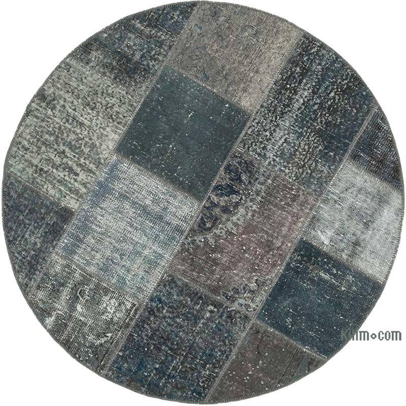 "Grey Round Patchwork Hand-Knotted Turkish Rug - 5' 1"" x 5' 1"" (61 in. x 61 in.) - K0039416"