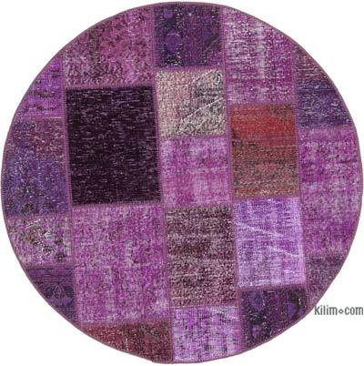 "Round Over-dyed Turkish Patchwork Rug - 4' 9"" x 4' 9"" (57 in. x 57 in.)"