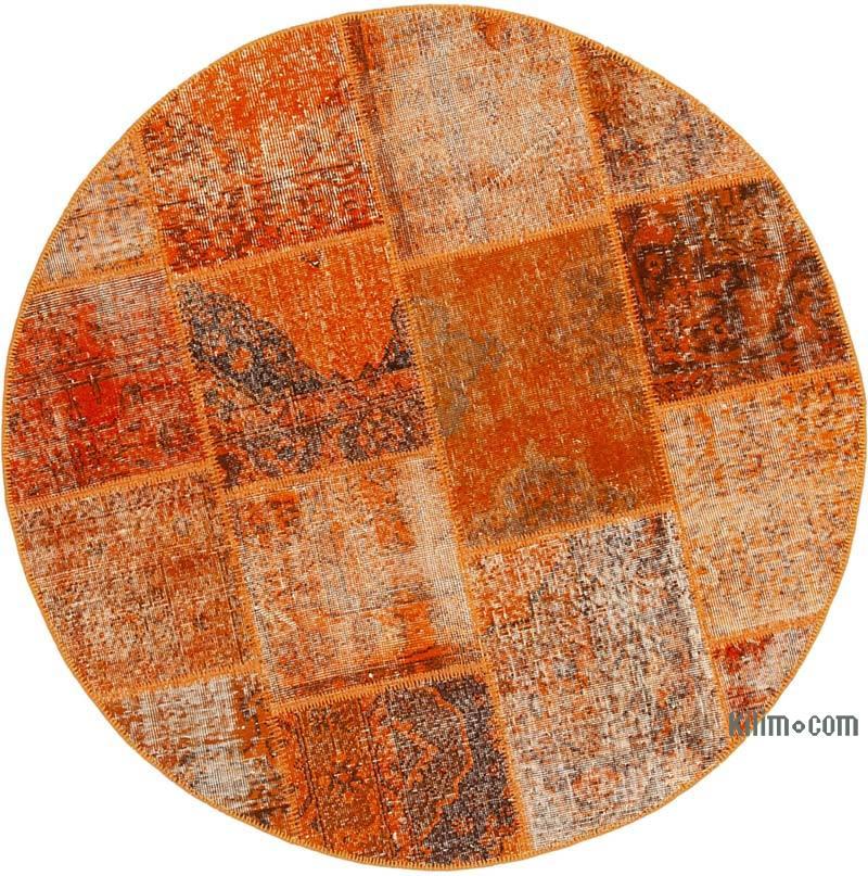 """Orange Round Patchwork Hand-Knotted Turkish Rug - 4' 11"""" x 4' 11"""" (59 in. x 59 in.) - K0039429"""