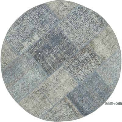 "Round Over-dyed Turkish Patchwork Rug - 4' 6"" x 4' 6"" (54 in. x 54 in.)"