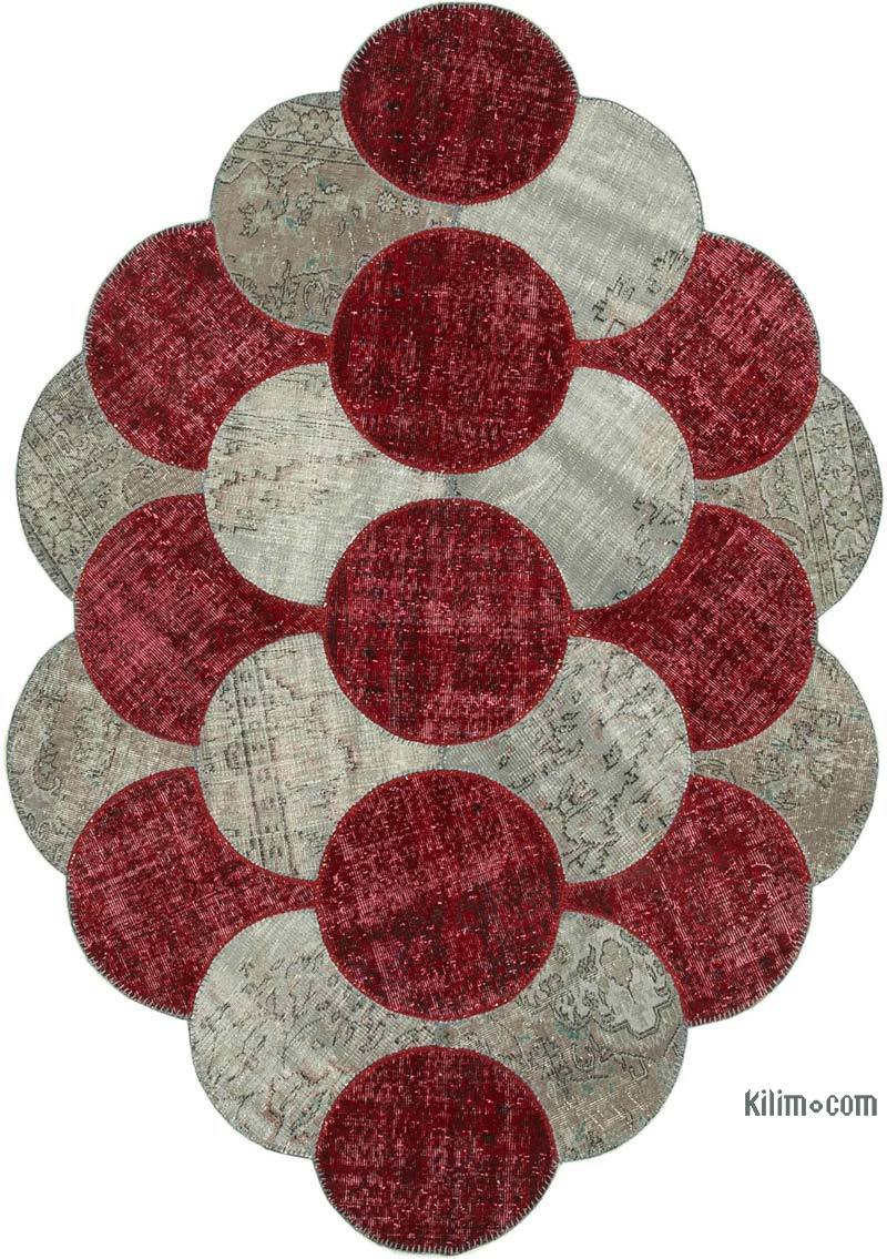 """Multicolor Round Patchwork Hand-Knotted Turkish Rug - 5' 7"""" x 8' 8"""" (67 in. x 104 in.) - K0039442"""
