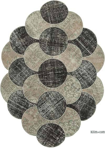 "Round Over-dyed Turkish Patchwork Rug - 5'7"" x 8'8"" (67 in. x 104 in.)"
