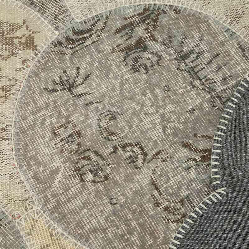 Bej, Gri Yuvarlak Boyalı Patchwork Halı - 170 cm x 263 cm - K0039444