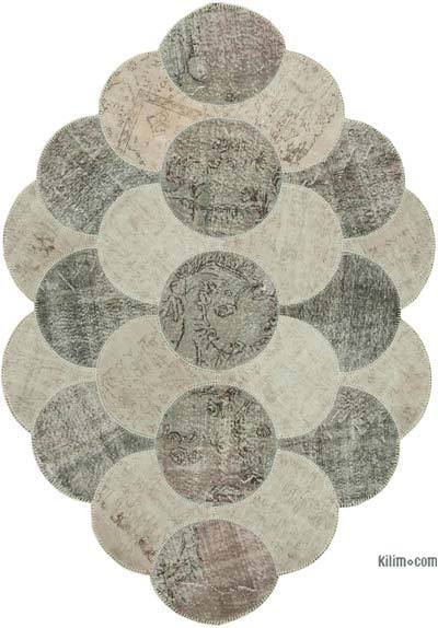 "Round Over-dyed Turkish Patchwork Rug - 5' 7"" x 8' 8"" (67 in. x 104 in.)"