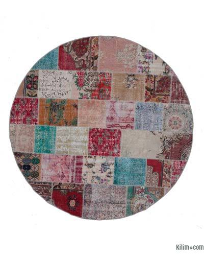 "Round Over-dyed Turkish Patchwork Rug - 8'3"" x 8'3"" (99 in. x 99 in.)"