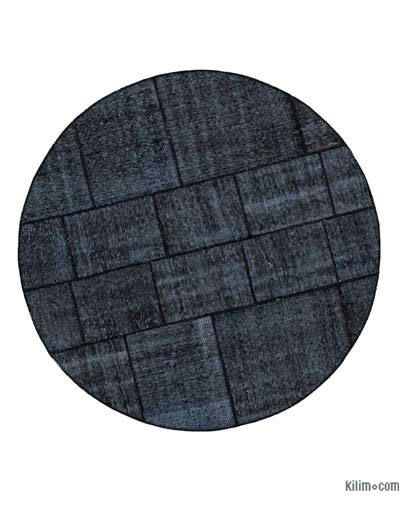 "Round Over-dyed Turkish Patchwork Rug - 5'3"" x 5'3"" (63 in. x 63 in.)"