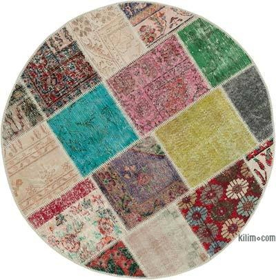"Round Over-dyed Turkish Patchwork Rug - 4'10"" x 4'10"" (58 in. x 58 in.)"
