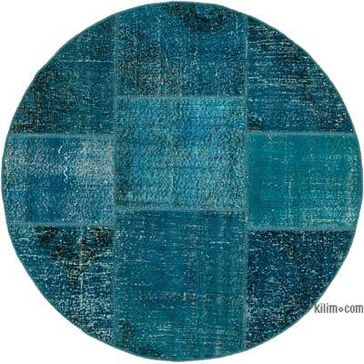 "Round Over-dyed Turkish Patchwork Rug - 5' 2"" x 5' 2"" (62 in. x 62 in.)"