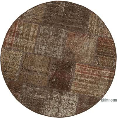 "Round Over-dyed Turkish Patchwork Rug - 5' 1"" x 5' 1"" (61 in. x 61 in.)"