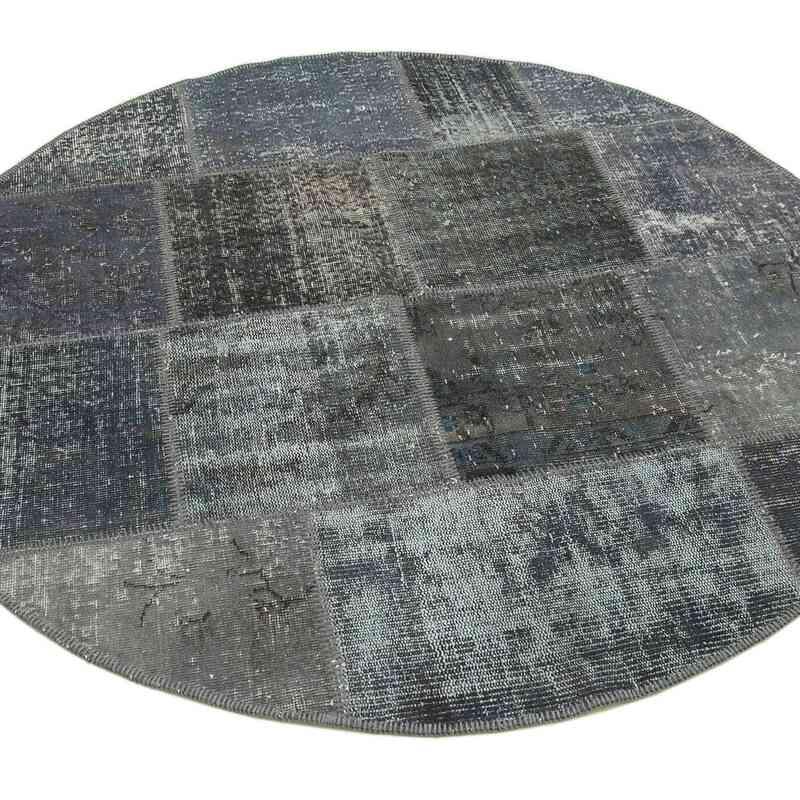 Grey Round Patchwork Hand-Knotted Turkish Rug - 5'  x 5'  (60 in. x 60 in.) - K0039465
