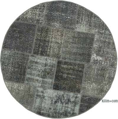 Grey Round Patchwork Hand-Knotted Turkish Rug - 5'  x 5'  (60 in. x 60 in.)