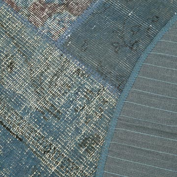 """Blue Round Patchwork Hand-Knotted Turkish Rug - 5' 1"""" x 5' 1"""" (61 in. x 61 in.) - K0039466"""
