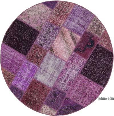 "Round Over-dyed Turkish Patchwork Rug - 6'5"" x 6'5"" (77 in. x 77 in.)"