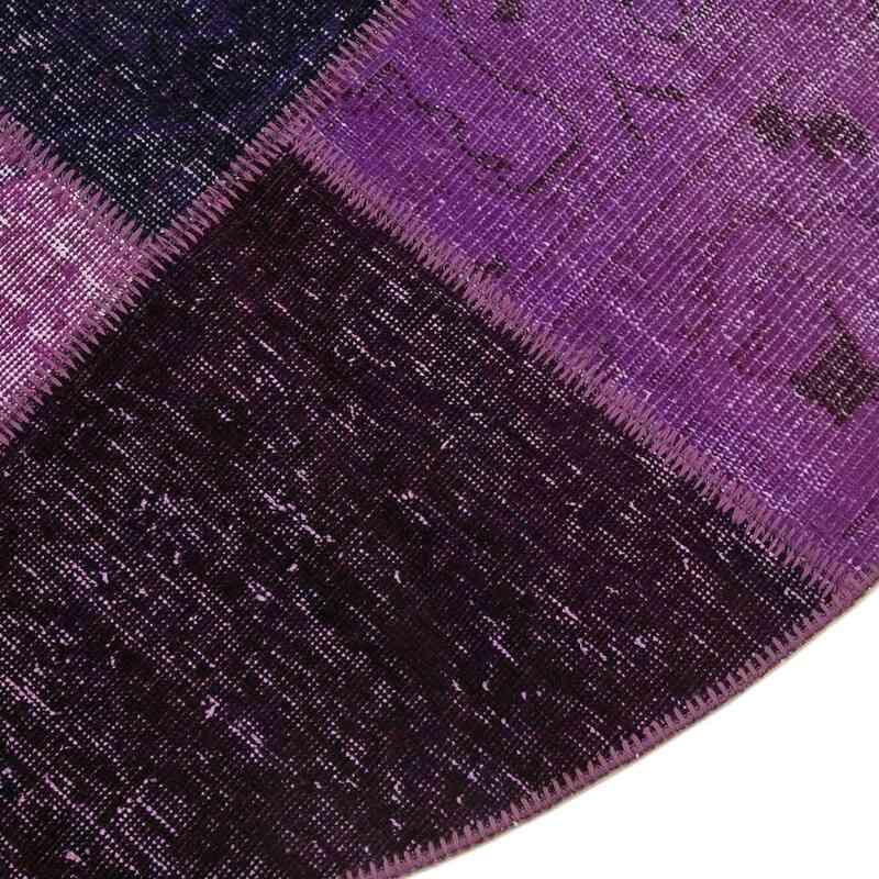 Mor Yuvarlak Boyalı Patchwork Halı - 190 cm x 190 cm - K0039469