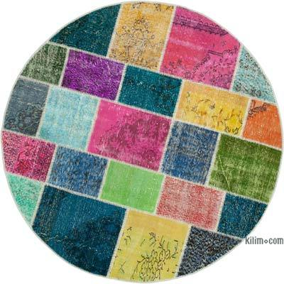 "Round Over-dyed Turkish Patchwork Rug - 6' 4"" x 6' 4"" (76 in. x 76 in.)"