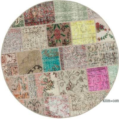 "Round Over-dyed Turkish Patchwork Rug - 4'8"" x 4'8"" (56 in. x 56 in.)"