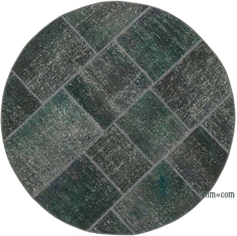 "Grey Round Patchwork Hand-Knotted Turkish Rug - 4' 11"" x 4' 11"" (59 in. x 59 in.) - K0039480"