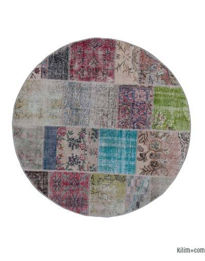 "Round Over-dyed Turkish Patchwork Rug - 5'1"" x 5'1"" (61 in. x 61 in.)"