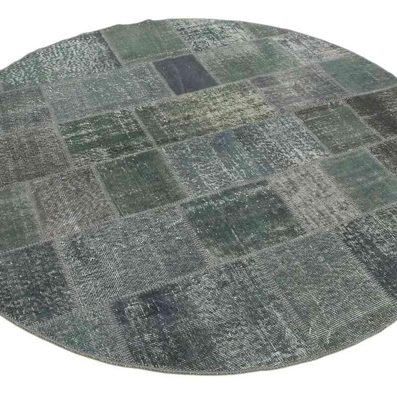 "Grey Round Patchwork Hand-Knotted Turkish Rug - 6' 4"" x 6' 4"" (76 in. x 76 in.) - K0039485"