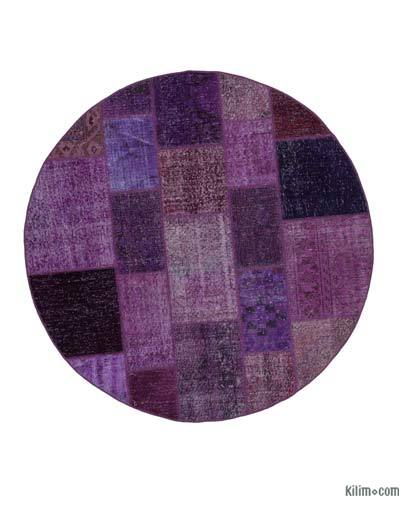 "Round Over-dyed Turkish Patchwork Rug - 6'4"" x 6'4"" (76 in. x 76 in.)"