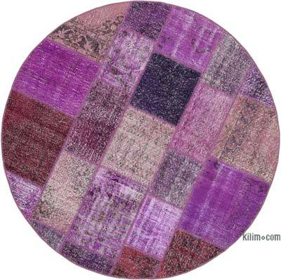"Round Over-dyed Turkish Patchwork Rug - 6' 3"" x 6' 3"" (75 in. x 75 in.)"