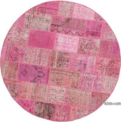 "Round Over-dyed Turkish Patchwork Rug - 6'6"" x 6'6"" (78 in. x 78 in.)"