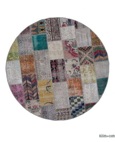 "Round Over-dyed Turkish Patchwork Rug - 6' 6"" x 6' 6"" (78 in. x 78 in.)"