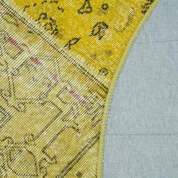 """Yellow Round Patchwork Hand-Knotted Turkish Rug - 6' 5"""" x 6' 5"""" (77 in. x 77 in.) - K0039523"""