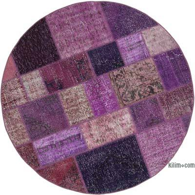 """Round Over-dyed Turkish Patchwork Rug - 6'4"""" x 6'4"""" (76 in. x 76 in.)"""