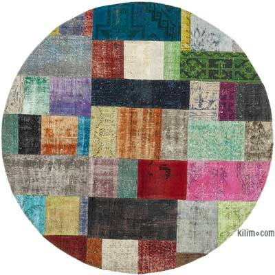 "Round Over-dyed Turkish Patchwork Rug - 6' 7"" x 6' 7"" (79 in. x 79 in.)"