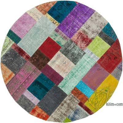 "Round Over-dyed Turkish Patchwork Rug - 6'7"" x 6'7"" (79 in. x 79 in.)"