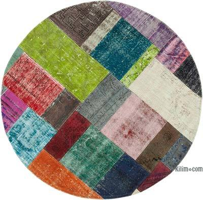 "Round Over-dyed Turkish Patchwork Rug - 4' 11"" x 4' 11"" (59 in. x 59 in.)"