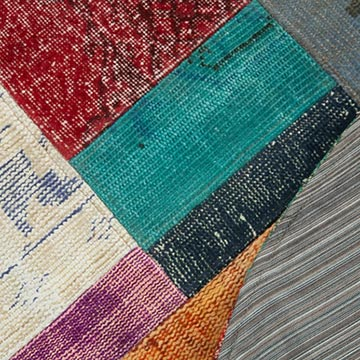 """Multicolor Round Patchwork Hand-Knotted Turkish Rug - 4' 11"""" x 4' 11"""" (59 in. x 59 in.) - K0039535"""