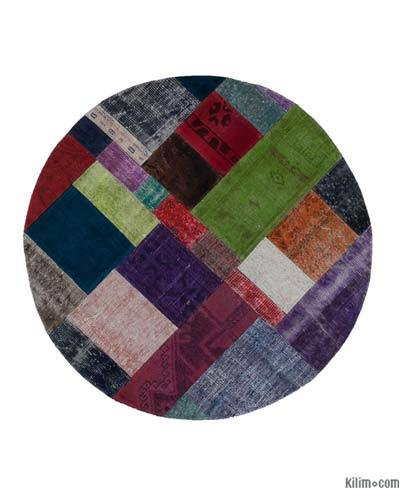 "Round Over-dyed Turkish Patchwork Rug - 4'11"" x 4'11"" (59 in. x 59 in.)"