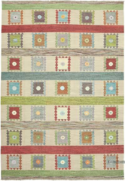 "New Contemporary Handwoven Wool Rug - 10' x 14'6"" (120 in. x 174 in.) - Old Yarn"