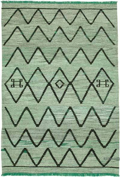 """New Contemporary Handwoven Wool Rug - 6'11"""" x 10'1"""" (83 in. x 121 in.) - Old Yarn"""