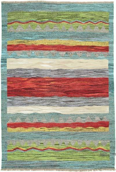 "New Contemporary Handwoven Kilim Rug - 6' 7"" x 9' 7"" (79 in. x 115 in.) - Vintage Yarn"