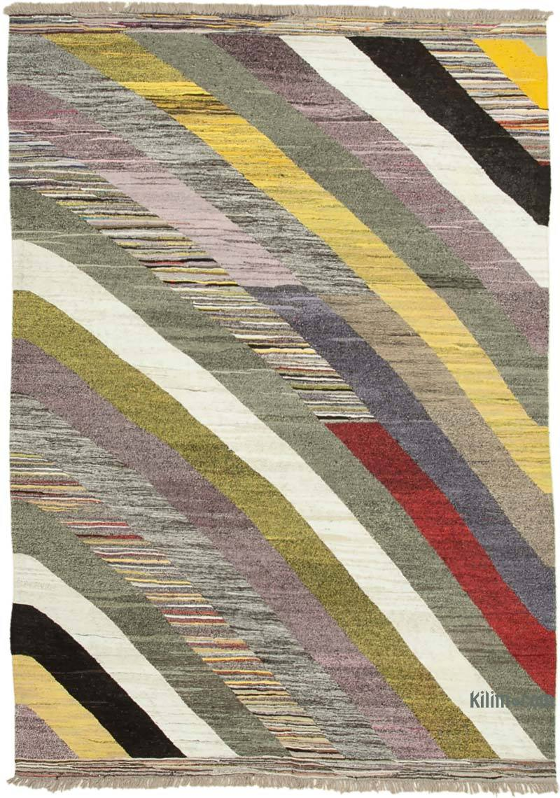 """New Contemporary Handwoven Kilim Rug - 6' 11"""" x 10' 5"""" (83 in. x 125 in.) - Vintage Yarn - K0039553"""