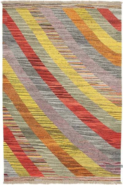 "New Contemporary Handwoven Wool Rug - 7'1"" x 10'6"" (85 in. x 126 in.) - Old Yarn"