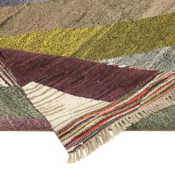 """New Contemporary Handwoven Kilim Rug - 6' 11"""" x 10' 3"""" (83 in. x 123 in.) - Vintage Yarn - K0039557"""