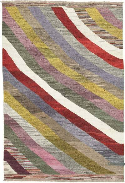 "New Contemporary Handwoven Wool Rug - 6'11"" x 10'3"" (83 in. x 123 in.) - Old Yarn"