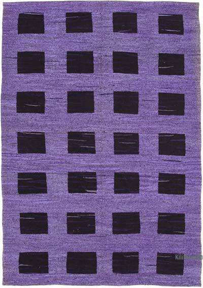 """New Contemporary Handwoven Wool Rug - 6'8"""" x 10' (80 in. x 120 in.) - Old Yarn"""