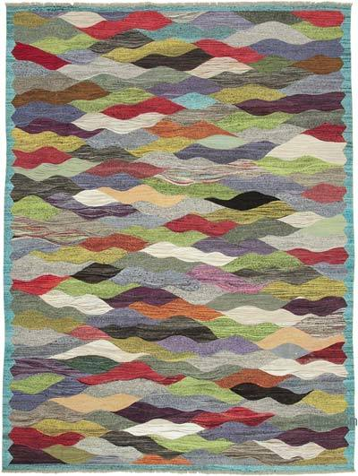 "New Contemporary Handwoven Kilim Rug - 9'10"" x 13'3"" (118 in. x 159 in.) - Vintage Yarn"
