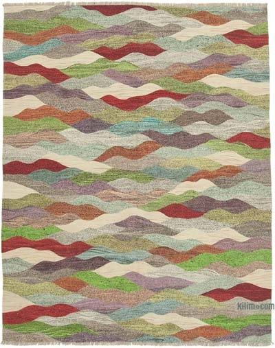 "New Contemporary Handwoven Wool Rug - 8'1"" x 10'3"" (97 in. x 123 in.) - Old Yarn"