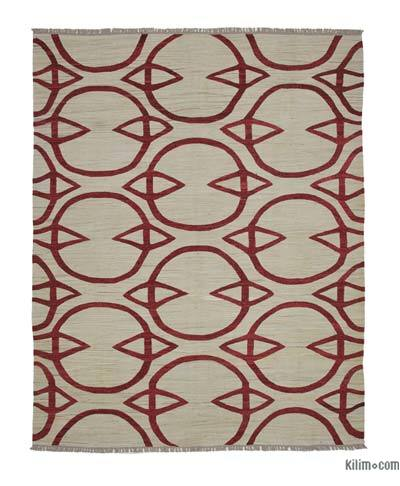 "New Contemporary Handwoven Wool Rug - 8'1"" x 10'2"" (97 in. x 122 in.) - Old Yarn"