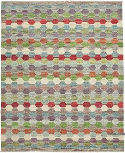 "New Contemporary Handwoven Kilim Rug - 8' 1"" x 9' 11"" (97 in. x 119 in.) - Vintage Yarn"